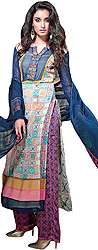 Multi-Colored Long Salwar Kameez Suit with Exotic Print