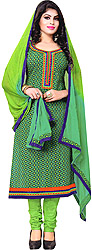 Dynasty-Green Printed Choodidaar Kameez Suit with Patch on Neck and Border