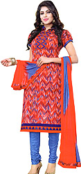 Sharon-Rose and Blue Choodidaar Kameez Suit with Printed Zigzag Stripes and Temple Border