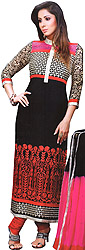 Black and Red Designer Embroidered Choodidaar Kameez Suit with Golden Patch on Neck