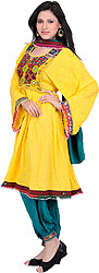 Yellow and Green Flaired Three-Piece Suit from Afghanistan with Multi-Coloured Embroidery and Bead-Work