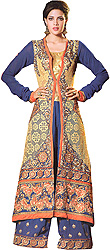 Blue and Golden Long Parallel Salwar Suit with Floral Embroidered Patches