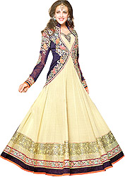Sea-Mist and Eclipse-Blue Wedding Long Anarkali Suit with Embroidered Bolero Jacket