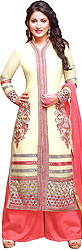 Wax-Yellow and Pink Long Parallel Salwar Suit with Embroidery and Cutwork Border