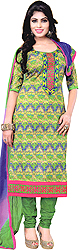 Vibrant-Green Printed Choodidaar Kameez Suit with Embroidered Patch