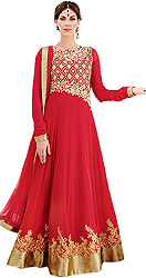Tomato-Red Bridal Long Anarkali Suit with Floral Gold Embroidery and Shimmer Border