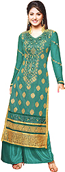 Viridian-Green Parallel Salwar Suit with Metallic Thread Embroidery
