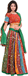 Multi-Color Ghagra Choli from Rajasthan with Chunri Print and Dangling Cowries