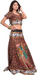 Two-Piece Jet-Black Ghagra Choli from Rajasthan with Woven Flowers and  Embroided Patch