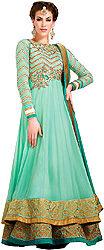 Jade Double Layered Anarkali Suit with Zardosi Embroidery on Neck and Belt Teamed with Gold Ari Border