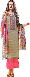 Multi-Color Parallel Salwar Suit with Printed Flowers and Patch on Neck