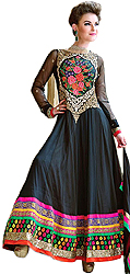 Jet-Black Wedding Long Anarkali Suit with Floral Embroidery and Wide Border