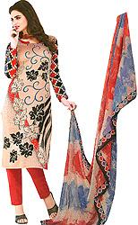 Choodidaar Salwar Suit with Printed Flowers