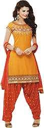 Cadmium-Yellow and Red Patiala Salwar Kameez Suit with Ari Embroidery on Neck and Patch Border