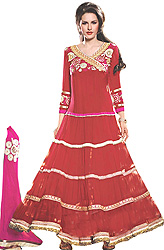 High Risk-Red Wedding Anarkali Flared Kameez Suit with Metallic-Thread Embroidery