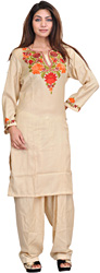 Sea-Mist Two-Piece Kashmiri Salwar Kameez with Floral Ari Embroidery by Hand