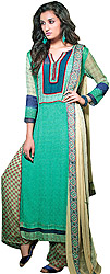 Sea-Green Long Printed Suit with Wide Salwar