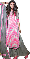 Pink Lemonade and Gray Long Printed Suit with Wide Salwar