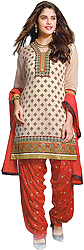 Bridal-Blush and Red Patiala Salwar Kameez Suit with Woven Booties and Embroidered Patch on Neck and Border