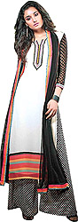 Cream and Black Long Printed and Embroidered Suit with Wide Salwar