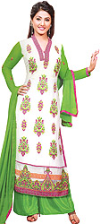 White and Green Long Salwar Kameez Suit with Embroidered Floral Motifs and Net Border