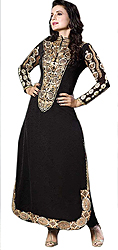 Jet-Black Amisha Long Choodidaar Kameez Suit with Self-Weave and Metalic Thread Embroidery