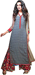 Folkstone-Gray Long Parallel Salwar Suit with Printed Bootis All-Over