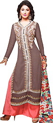 Sparrow and Pink Long Parallel Salwar Suit with Floral Embroidery