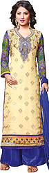 Cream and Blue Long Salwar Kameez Suit with Embroidered Paisleys