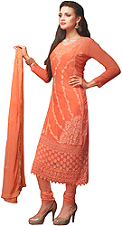 Fresh-Salmon Embroidered Long Choodidaar Kameez Suit with Crochet Border and Crystals