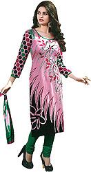 Choodidaar Kameez Suit with Printed Flowers
