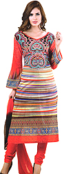 Cayenne-Red Choodidaar Kameez Suit with Akbari Print