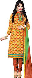 Apricot and Brown Choodidaar Kameez Suit with Printed Zigzag Stripes and Patch Border