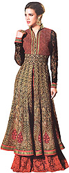Red and Black Designer Layered Pakistani Suit with Densely Embroidered in Metallic Thread