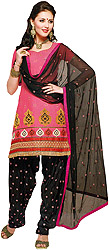 Pink and Black Patiala Salwar Kameez Suit with Embroidered Bootis