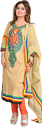 Chino-Green and Coral Choodidaar Kameez Suit with Embroidered Patch and Digital Print at Back