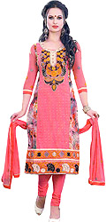 Flamingo-Pink Long Choodidaar Kameez Suit with Floral Embroidered Patch and Crystals