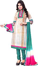Antique-White and Green Choodidaar Kameez Suit with Printed Motifs and Embroidered Patch