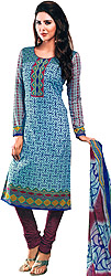 Blue and Mauvewood Choodidaar Kameez Suit with Abstract Print