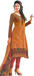 Gold-Earth and Red Printed Choodidaar Kameez Suit