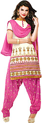 Whtie and Pink Patiala Salwar Kameez Suit with Embroidered Flowers