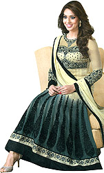 Vanilla and Gray Double-Shaded Bipasha Anarkali Suit with Black Floral Embroidery and Stones