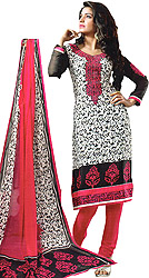 White and Pink Floral Printed Choodidaar Kameez Suit with Embroidered Patch on Neck and Border