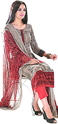 Ivory-Cream and Red Printed Parallel Salwar Suit with Printed Patch on Neck and Border