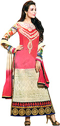 Camellia-Rose and Ivory Malaika Long Choodidaar Kameez Suit with Embroidered Patch and Crochet Border