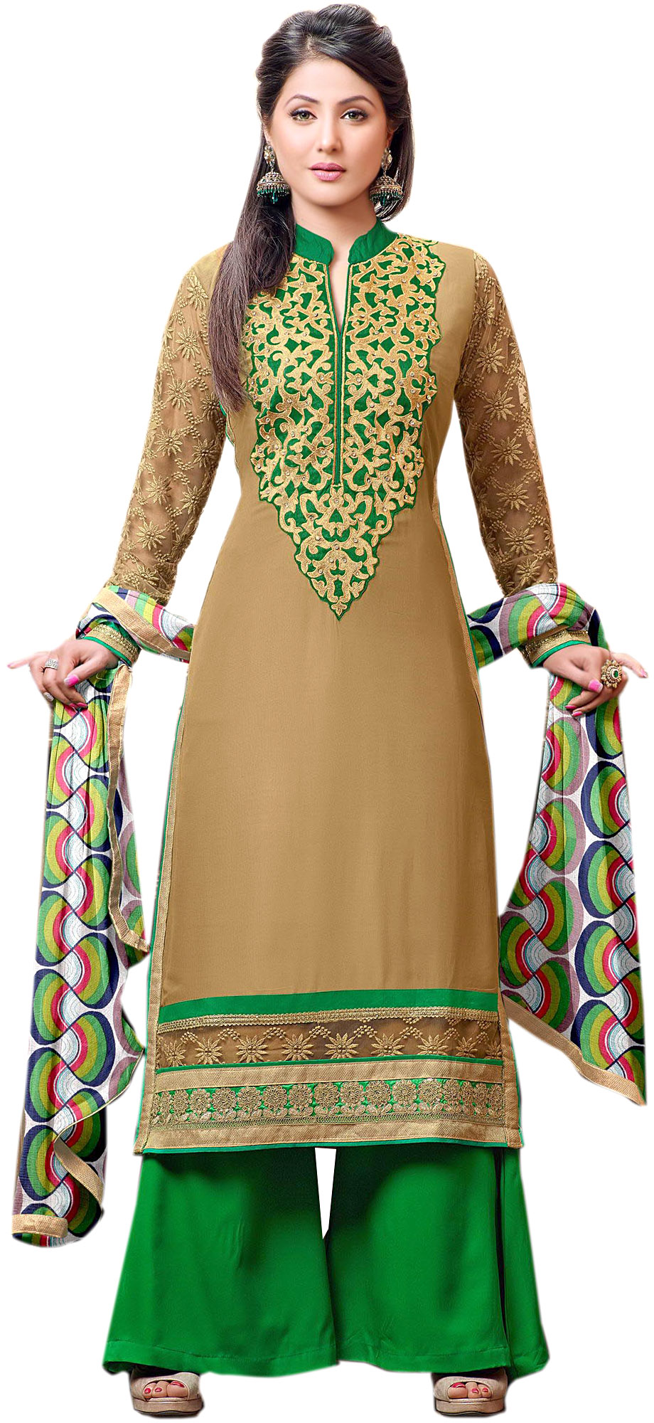 Dijon and green parallel salwar suit with zari embroidered