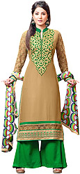 Dijon and Green Parallel Salwar Suit with Zari Embroidered Patch and Net Sleeves