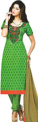 Poison-Green Choodidaar Kameez Suit with Embroidered Patch on Neck and Printed Bootis