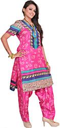Raspberry-Rose Two-Piece Salwar Kameez Suit from Bhagalpur with Printed Warli Motifs