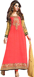 Calypso-Coral Long Choodidaar Kameez Suit with Embroidered Patch on Neck and Border